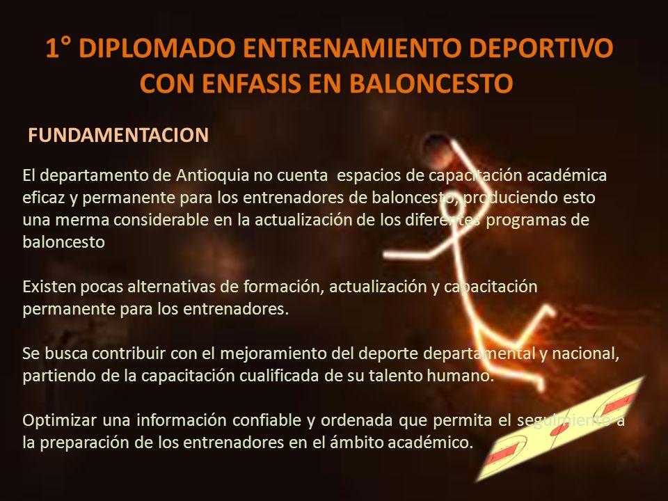 1° DIPLOMADO ENTRENAMIENTO DEPORTIVO CON ENFASIS EN BALONCESTO FUNDAMENTACION El departamento de Antioquia no cuenta espacios de capacitación académic