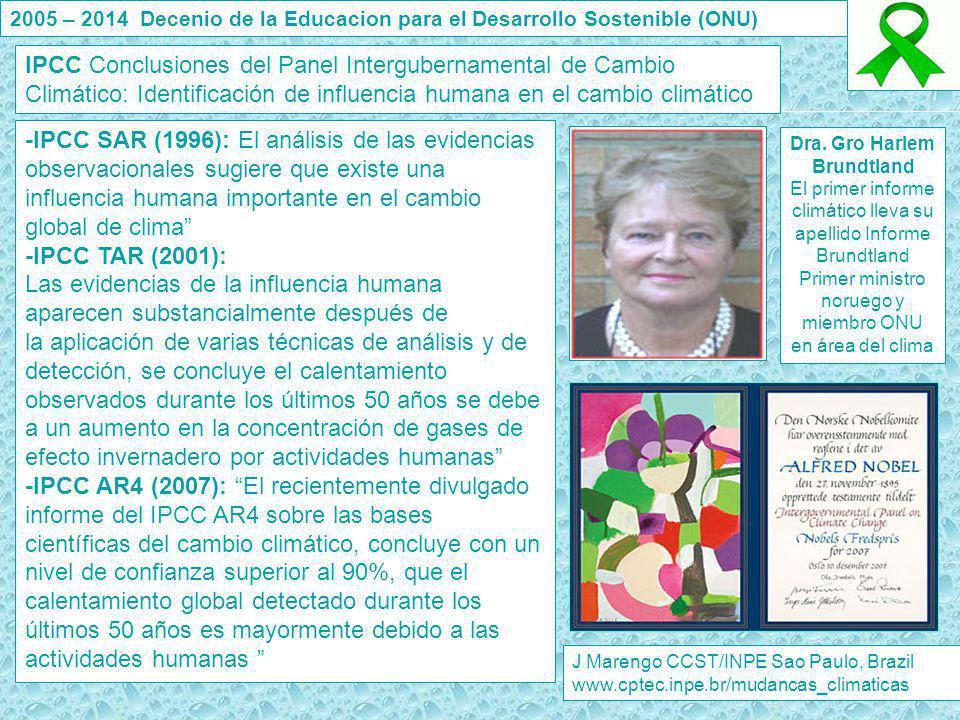 J Marengo CCST/INPE Sao Paulo, Brazil www.cptec.inpe.br/mudancas_climaticas IPCC Conclusiones del Panel Intergubernamental de Cambio Climático: Identi