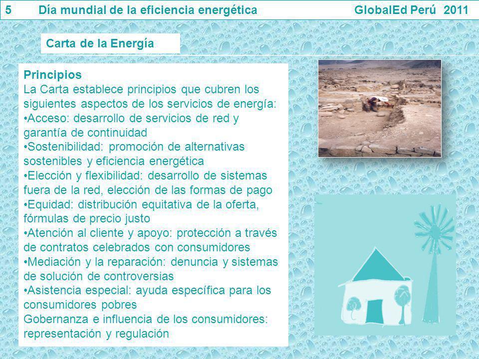Principios La Carta establece principios que cubren los siguientes aspectos de los servicios de energía: Acceso: desarrollo de servicios de red y gara