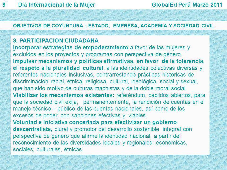 3. PARTICIPACION CIUDADANA Incorporar estrategias de empoderamiento a favor de las mujeres y excluidos en los proyectos y programas con perspectiva de