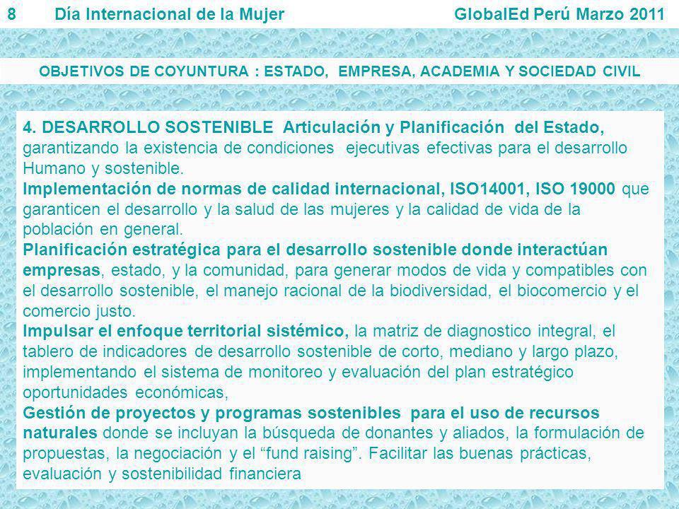 4. DESARROLLO SOSTENIBLE Articulación y Planificación del Estado, garantizando la existencia de condiciones ejecutivas efectivas para el desarrollo Hu