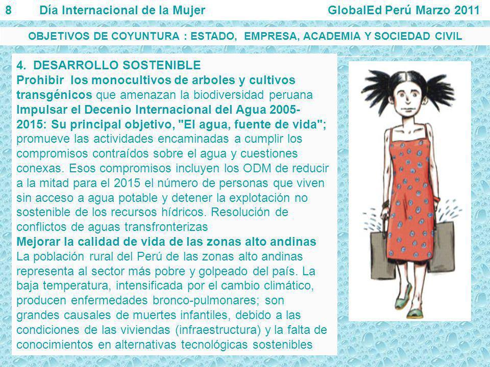 4. DESARROLLO SOSTENIBLE Prohibir los monocultivos de arboles y cultivos transgénicos que amenazan la biodiversidad peruana Impulsar el Decenio Intern