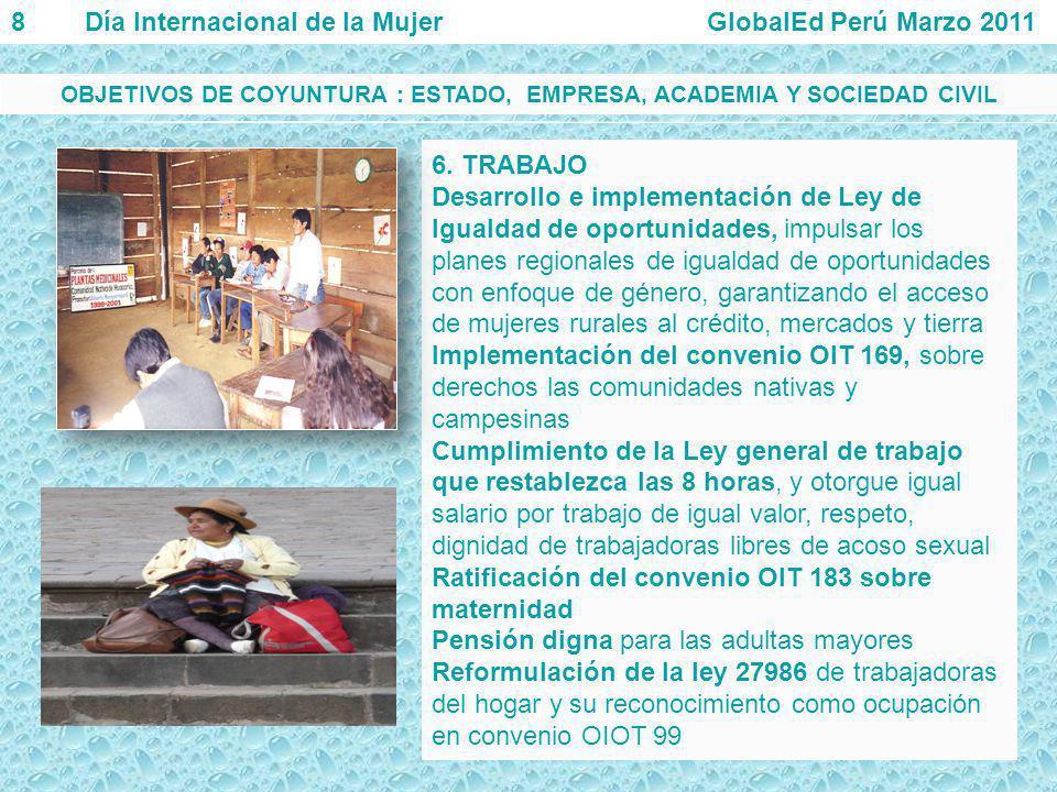 6. TRABAJO Desarrollo e implementación de Ley de Igualdad de oportunidades, impulsar los planes regionales de igualdad de oportunidades con enfoque de