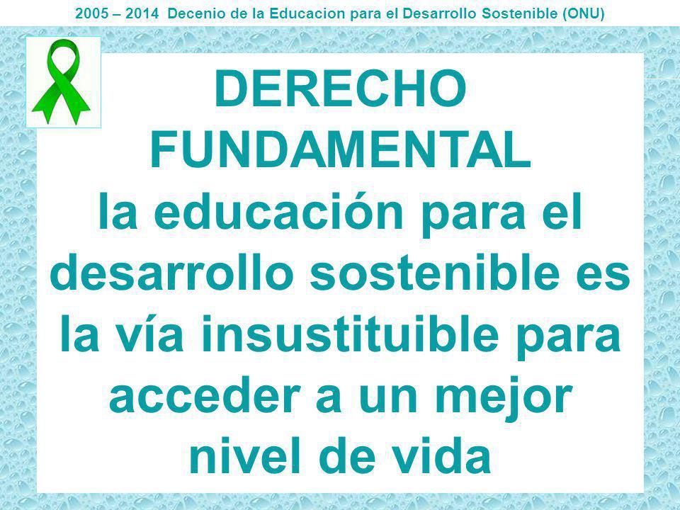 DERECHO FUNDAMENTAL la educación para el desarrollo sostenible es la vía insustituible para acceder a un mejor nivel de vida 2005 – 2014 Decenio de la