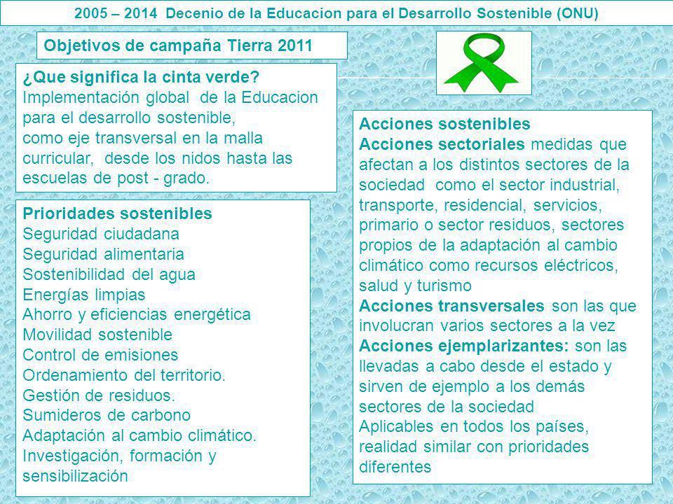 ¿Que significa la cinta verde? Implementación global de la Educacion para el desarrollo sostenible, como eje transversal en la malla curricular, desde