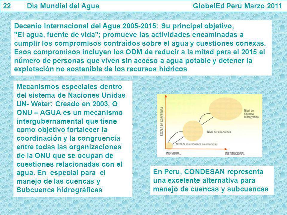 22 Día Mundial del Agua GlobalEd Perú Marzo 2011 Decenio Internacional del Agua 2005-2015: Su principal objetivo,