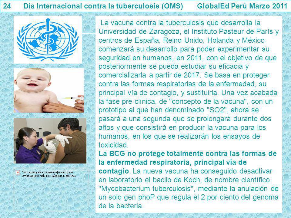24 Día Internacional contra la tuberculosis (OMS) GlobalEd Perú Marzo 2011 La vacuna contra la tuberculosis que desarrolla la Universidad de Zaragoza,