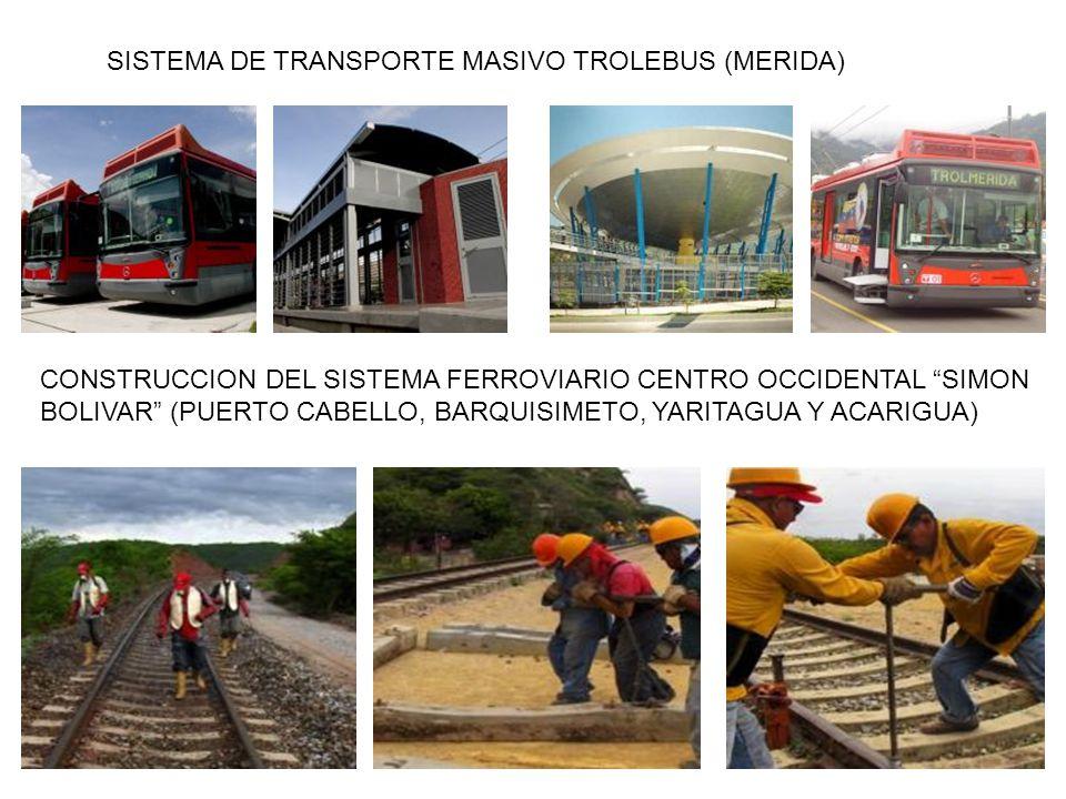 SISTEMA DE TRANSPORTE MASIVO TROLEBUS (MERIDA) CONSTRUCCION DEL SISTEMA FERROVIARIO CENTRO OCCIDENTAL SIMON BOLIVAR (PUERTO CABELLO, BARQUISIMETO, YARITAGUA Y ACARIGUA)