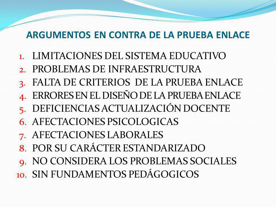 ARGUMENTOS EN CONTRA DE LA PRUEBA ENLACE 1. LIMITACIONES DEL SISTEMA EDUCATIVO 2. PROBLEMAS DE INFRAESTRUCTURA 3. FALTA DE CRITERIOS DE LA PRUEBA ENLA