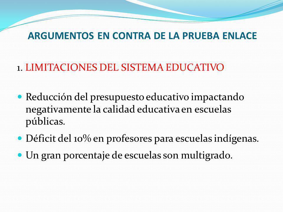 1. LIMITACIONES DEL SISTEMA EDUCATIVO Reducción del presupuesto educativo impactando negativamente la calidad educativa en escuelas públicas. Déficit