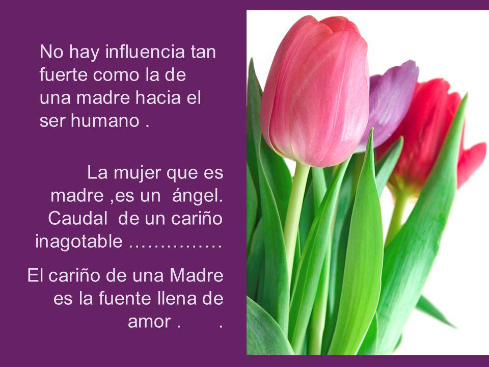 No hay influencia tan fuerte como la de una madre hacia el ser humano. La mujer que es madre,es un ángel. Caudal de un cariño inagotable …………… El cari