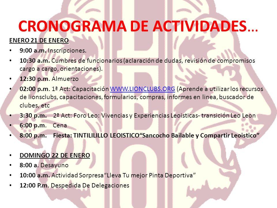 CRONOGRAMA DE ACTIVIDADES… ENERO 21 DE ENERO 9:00 a.m. Inscripciones. 10:30 a.m. Cumbres de funcionarios (aclaración de dudas, revisión de compromisos