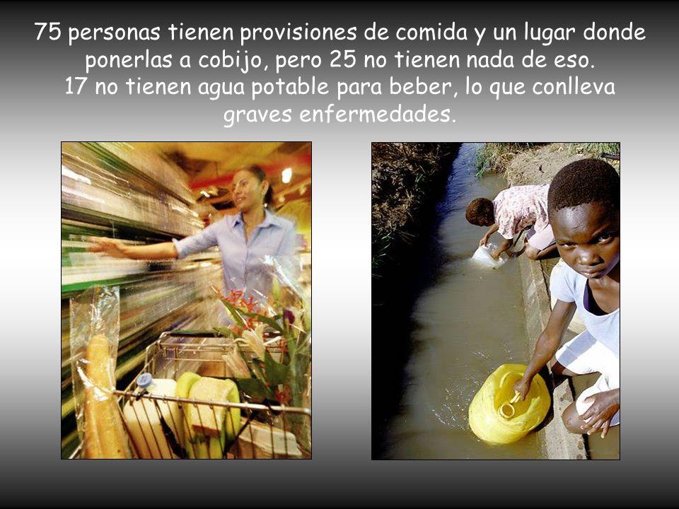 75 personas tienen provisiones de comida y un lugar donde ponerlas a cobijo, pero 25 no tienen nada de eso. 17 no tienen agua potable para beber, lo q