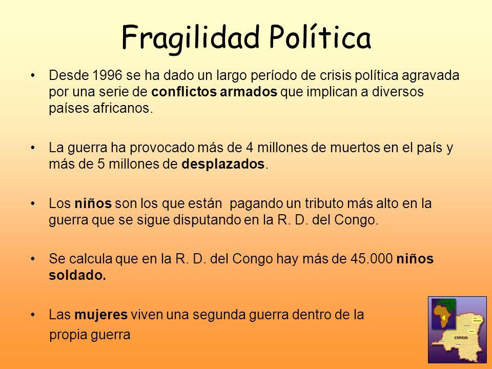 Fragilidad Política Desde 1996 se ha dado un largo período de crisis política agravada por una serie de conflictos armados que implican a diversos paí