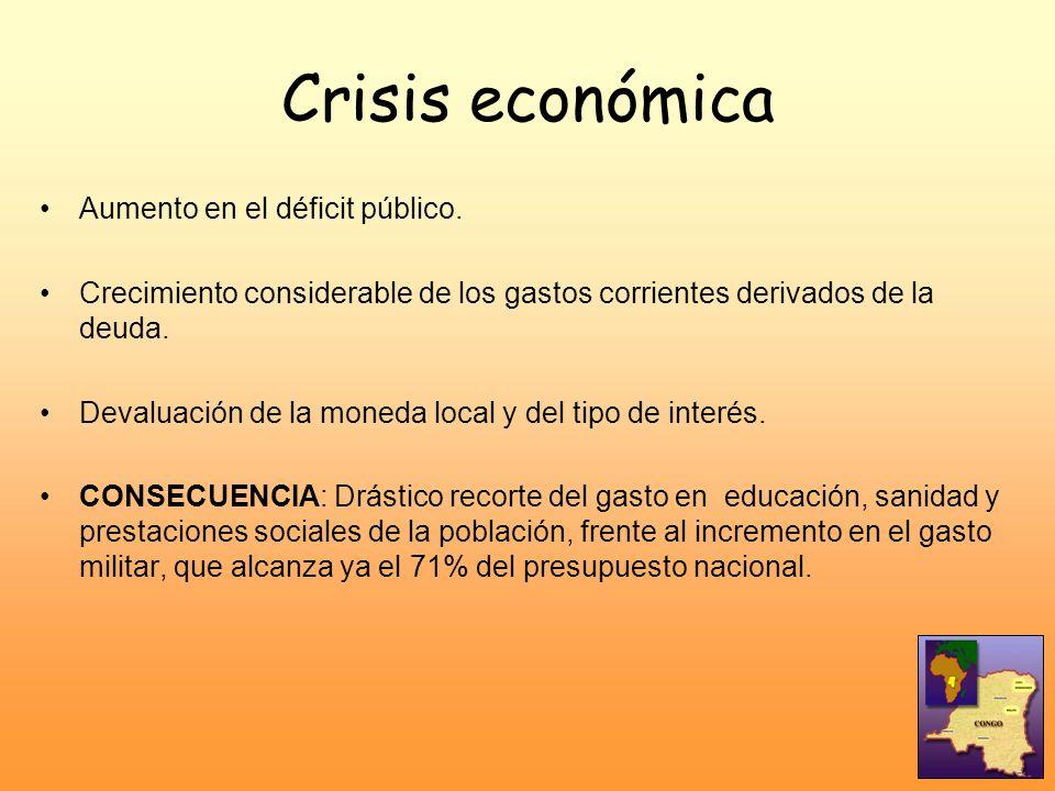 Crisis económica Aumento en el déficit público. Crecimiento considerable de los gastos corrientes derivados de la deuda. Devaluación de la moneda loca