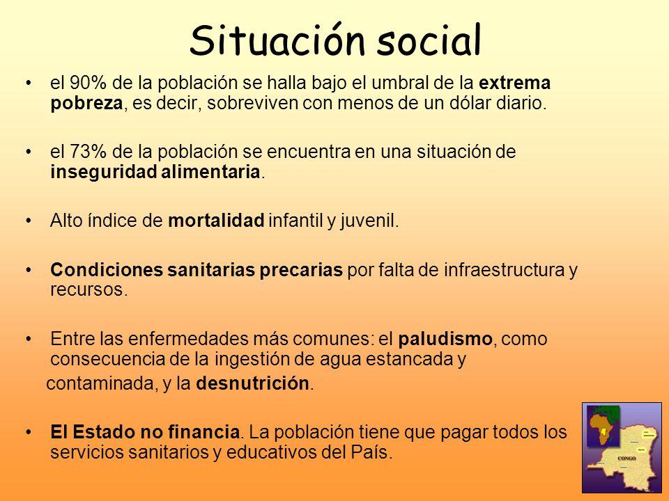 Situación social el 90% de la población se halla bajo el umbral de la extrema pobreza, es decir, sobreviven con menos de un dólar diario. el 73% de la