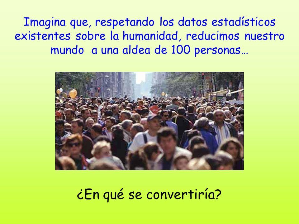 Imagina que, respetando los datos estadísticos existentes sobre la humanidad, reducimos nuestro mundo a una aldea de 100 personas… ¿En qué se converti