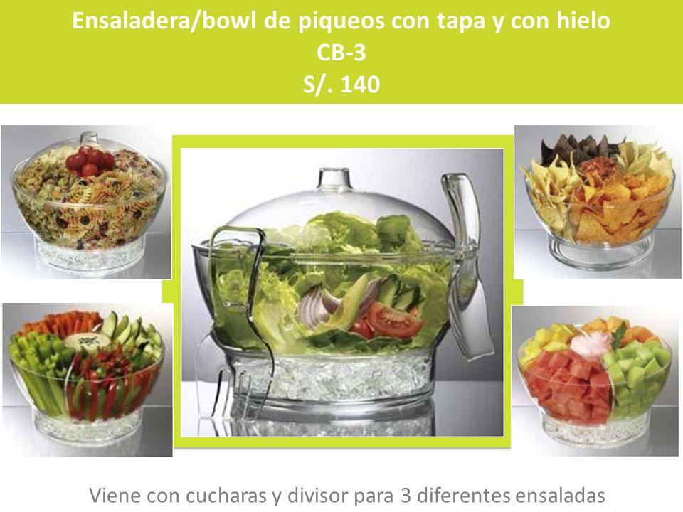 Ensaladera/bowl de piqueos con tapa y con hielo CB-3 S/. 140 Viene con cucharas y divisor para 3 diferentes ensaladas