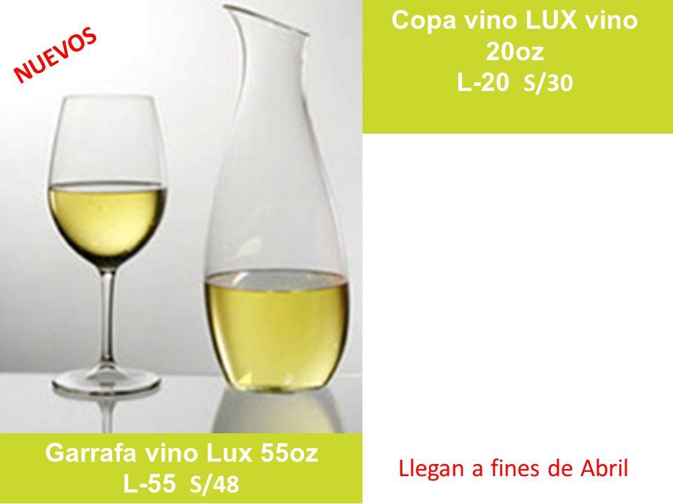 Copa vino LUX vino 20oz L-20 S/30 Garrafa vino Lux 55oz L-55 S/48 NUEVOS Llegan a fines de Abril
