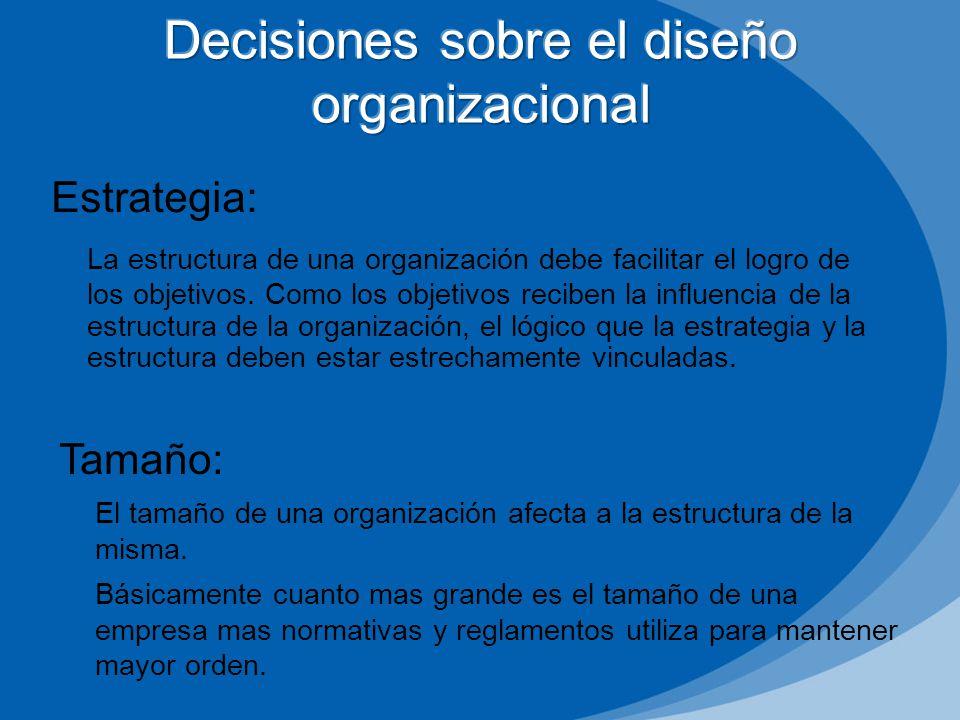 Estrategia: La estructura de una organización debe facilitar el logro de los objetivos. Como los objetivos reciben la influencia de la estructura de l