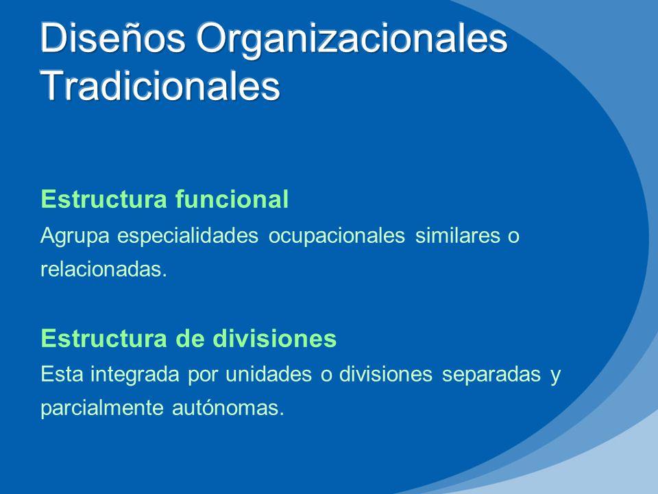 Estructura funcional Agrupa especialidades ocupacionales similares o relacionadas. Estructura de divisiones Esta integrada por unidades o divisiones s