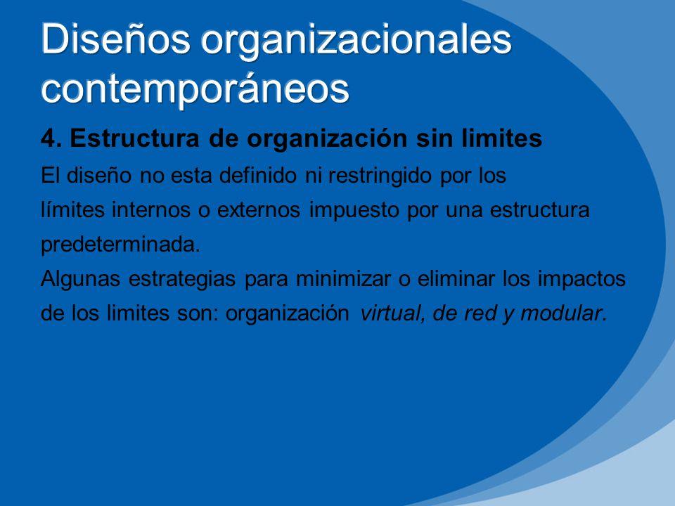 4. Estructura de organización sin limites El diseño no esta definido ni restringido por los límites internos o externos impuesto por una estructura pr