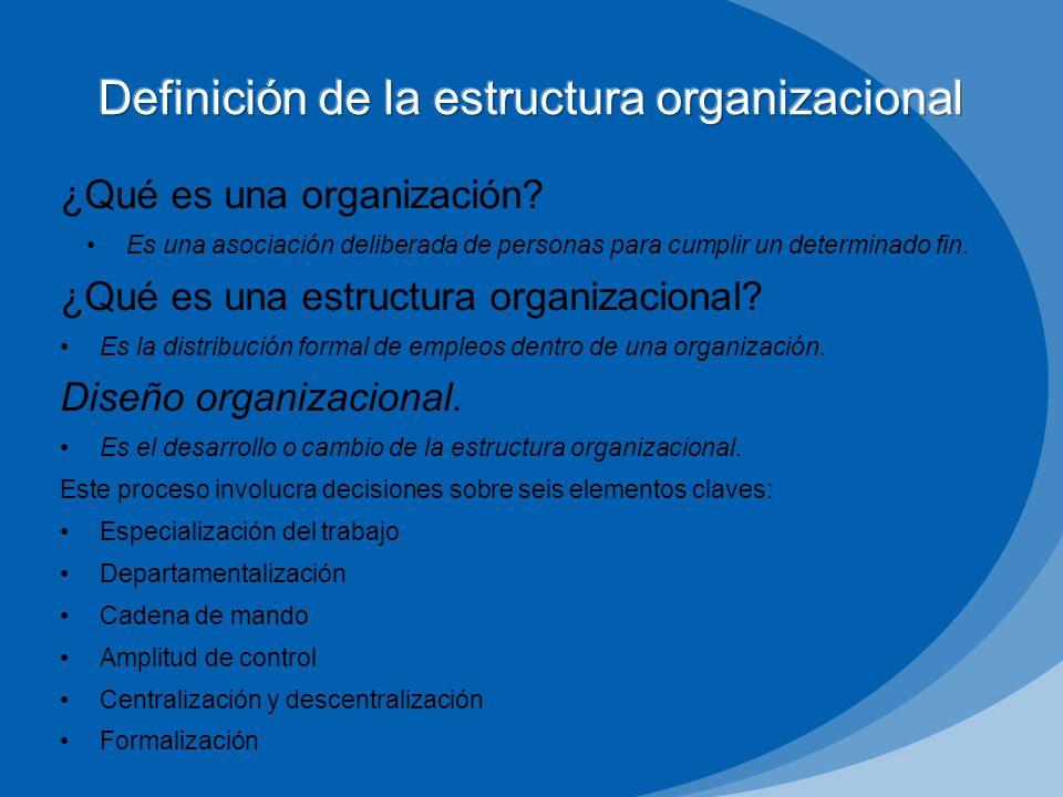 ¿Qué es una organización? Es una asociación deliberada de personas para cumplir un determinado fin. ¿Qué es una estructura organizacional? Es la distr