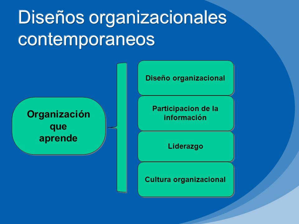 Diseño organizacional Liderazgo Participacion de la información Organización que aprende Organización que aprende Cultura organizacional