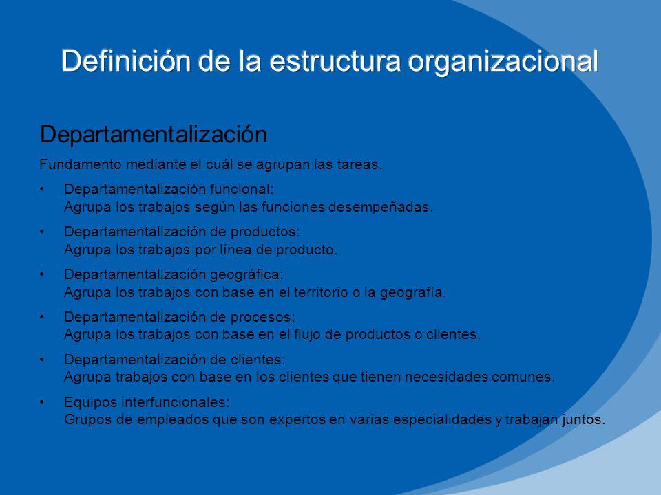 Departamentalización Fundamento mediante el cuál se agrupan las tareas. Departamentalización funcional: Agrupa los trabajos según las funciones desemp