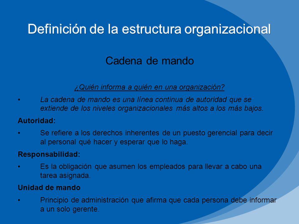 Número de empleados que un gerente puede dirigir de manera eficiente y eficaz Determina el número de niveles y gerentes de una organización 1 4 16 64 256 1024 4096 1 8 64 512 4096