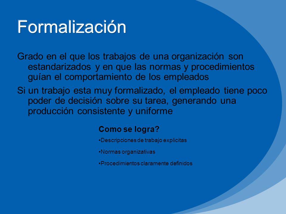 Grado en el que los trabajos de una organización son estandarizados y en que las normas y procedimientos guían el comportamiento de los empleados Si u