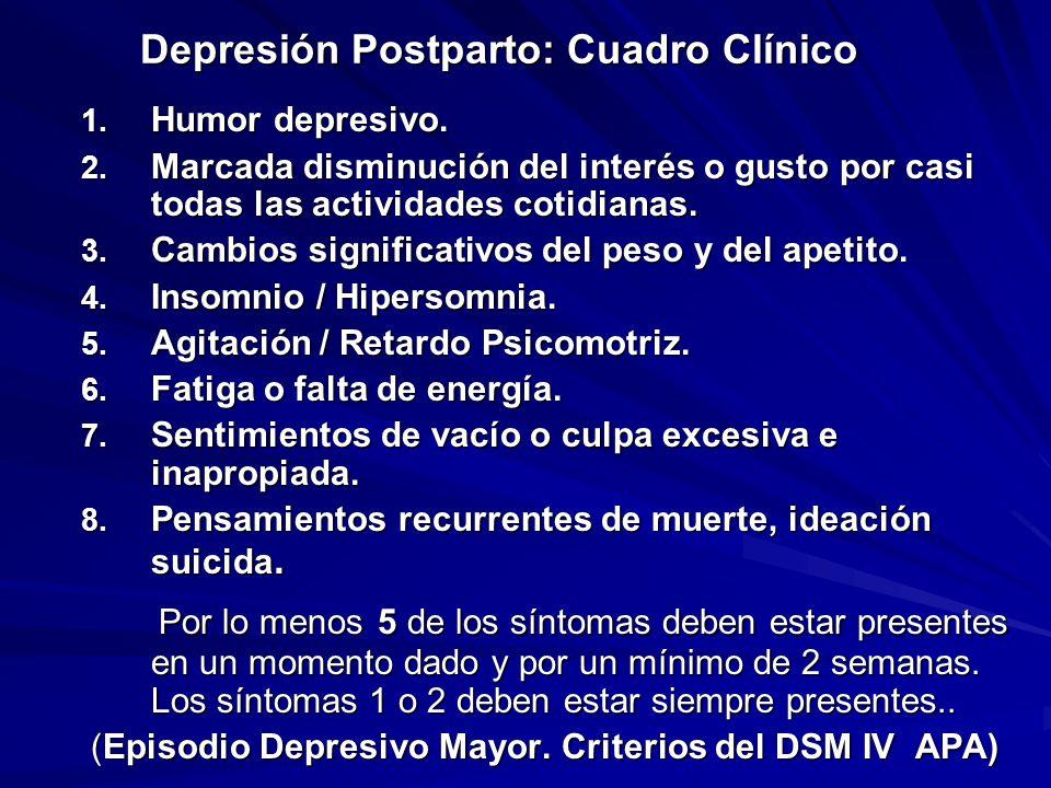 Depresión Postparto: Cuadro Clínico 1. Humor depresivo. 2. Marcada disminución del interés o gusto por casi todas las actividades cotidianas. 3. Cambi