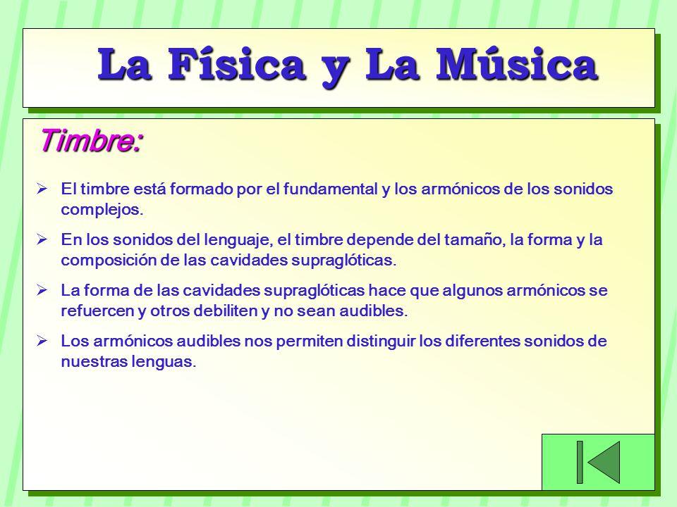 La Física y La Música El timbre está formado por el fundamental y los armónicos de los sonidos complejos. En los sonidos del lenguaje, el timbre depen