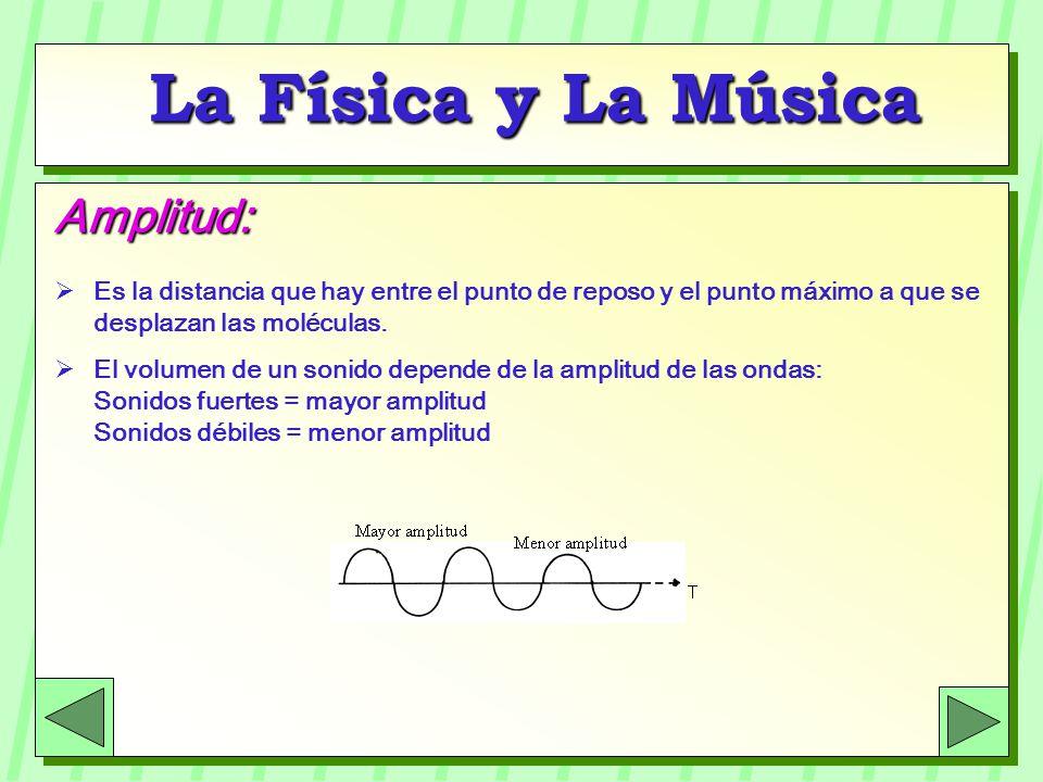 La Física y La Música Amplitud: Es la distancia que hay entre el punto de reposo y el punto máximo a que se desplazan las moléculas. El volumen de un