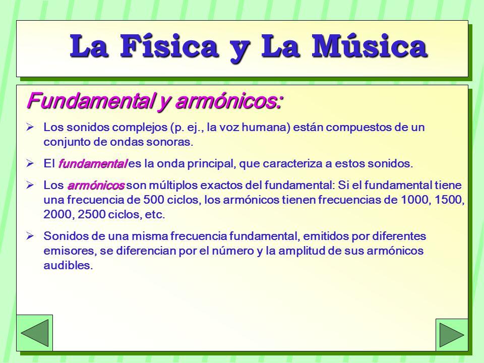 La Física y La Música Fundamental y armónicos: Los sonidos complejos (p. ej., la voz humana) están compuestos de un conjunto de ondas sonoras. fundame