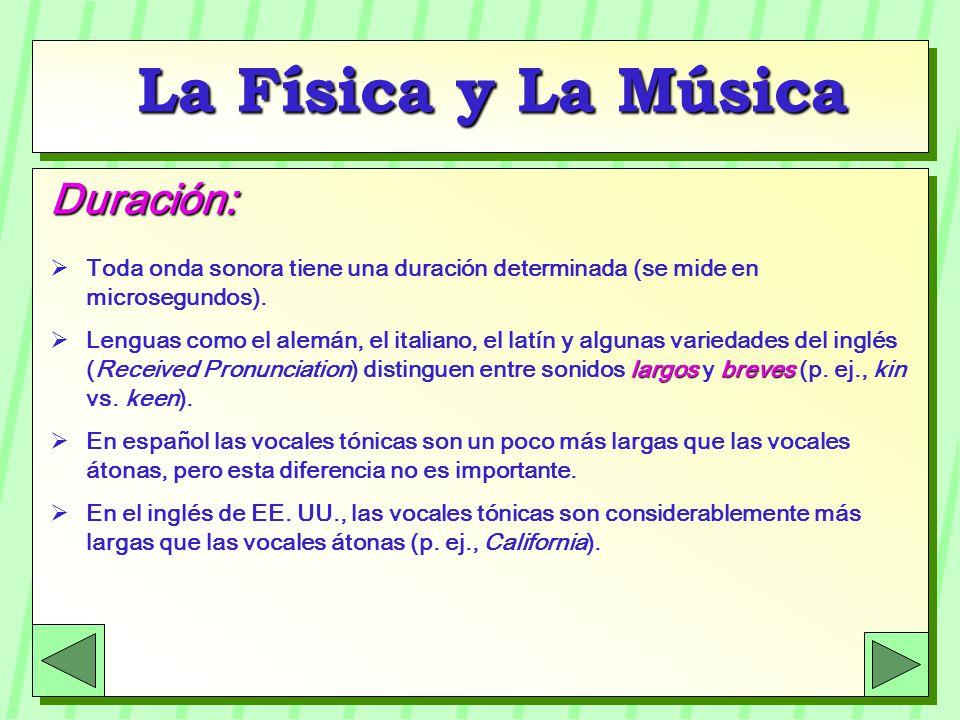 La Física y La Música Intensidad: Depende de la amplitud de las ondas sonoras.