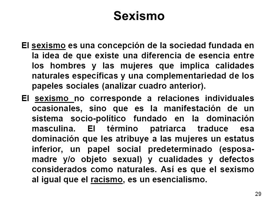 28 Feminismo El feminismo, en cuanto a teoría, analiza los mecanismos sociales e ideológicos de la opresión de las mujeres, que llevan a las desigualdades entre los sexos y al establecimiento de papeles sociales predeterminados y jerarquizados.