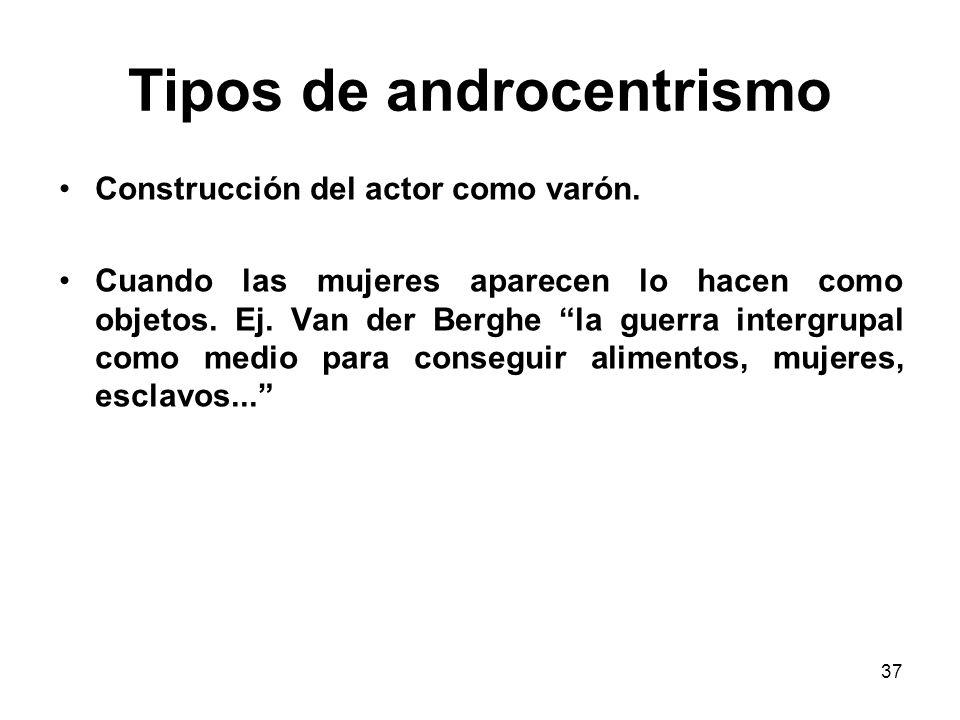 36 Tipos de androcentrismo Construcción del actor como masculino en lugar de masculino y/o femenino. Genera invisibilidad de las mujeres, destaca los