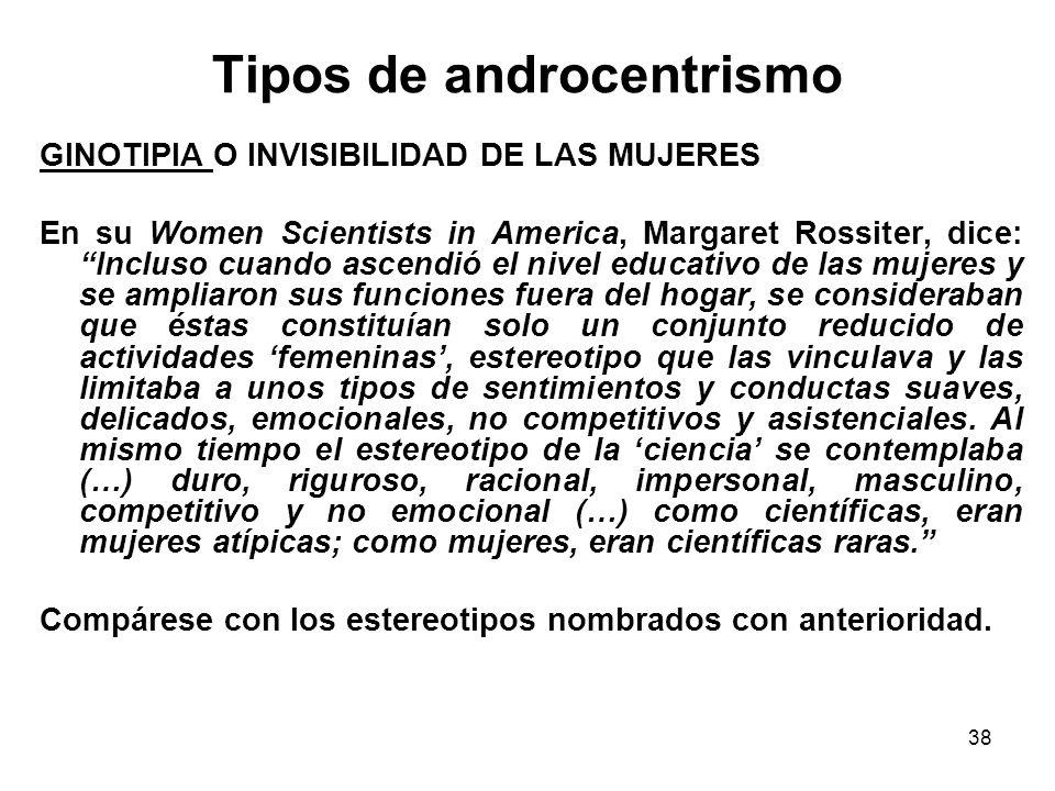 37 Tipos de androcentrismo Construcción del actor como varón.