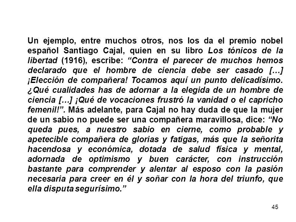44 Tipos de androcentrismo Santiago Ramón y Cajal Misoginia y culpabilización de las mujeres.