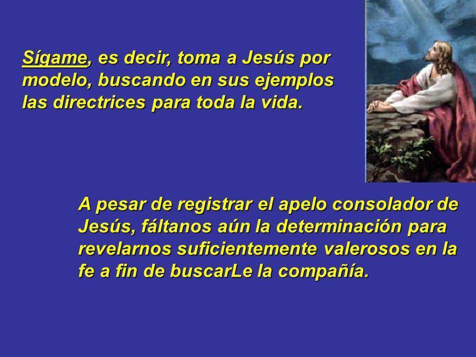 Sígame, es decir, toma a Jesús por modelo, buscando en sus ejemplos las directrices para toda la vida.