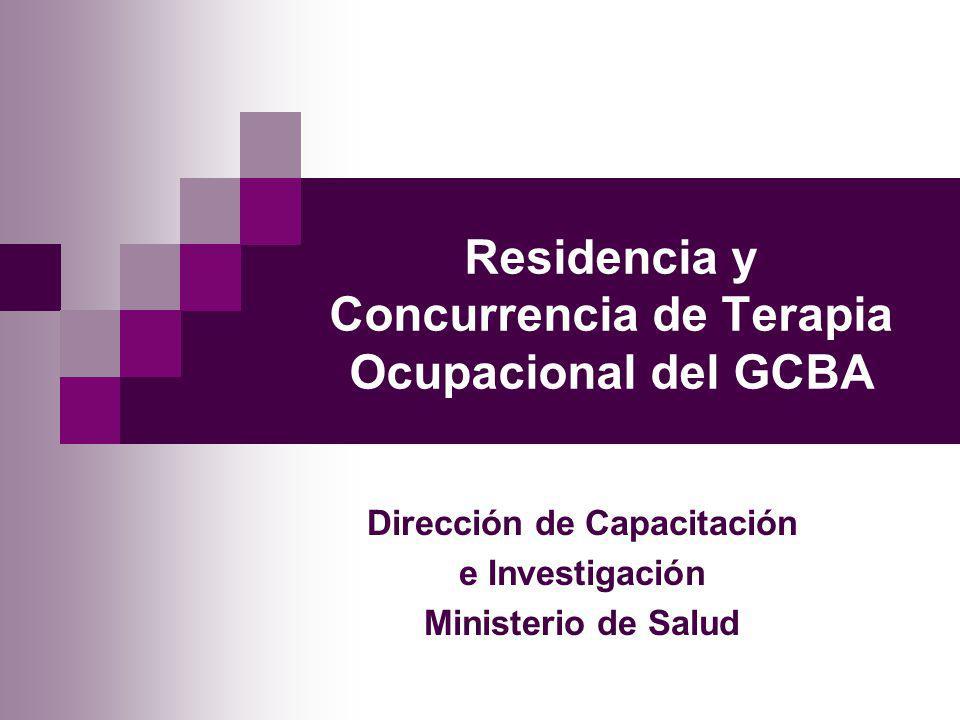 Residencia y Concurrencia de Terapia Ocupacional del GCBA Dirección de Capacitación e Investigación Ministerio de Salud