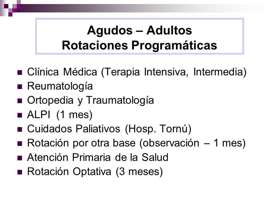 Agudos – Adultos Rotaciones Programáticas Clínica Médica (Terapia Intensiva, Intermedia) Reumatología Ortopedia y Traumatología ALPI (1 mes) Cuidados Paliativos (Hosp.