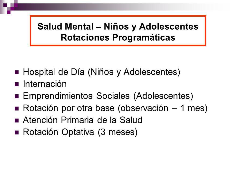 Salud Mental – Niños y Adolescentes Rotaciones Programáticas Hospital de Día (Niños y Adolescentes) Internación Emprendimientos Sociales (Adolescentes