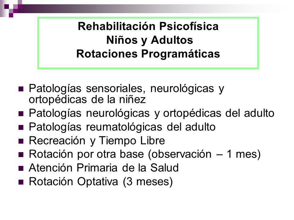 Rehabilitación Psicofísica Niños y Adultos Rotaciones Programáticas Patologías sensoriales, neurológicas y ortopédicas de la niñez Patologías neurológ