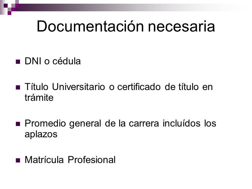 Documentación necesaria DNI o cédula Título Universitario o certificado de título en trámite Promedio general de la carrera incluídos los aplazos Matrícula Profesional
