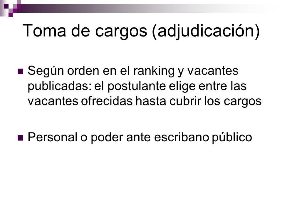 Toma de cargos (adjudicación) Según orden en el ranking y vacantes publicadas: el postulante elige entre las vacantes ofrecidas hasta cubrir los cargo