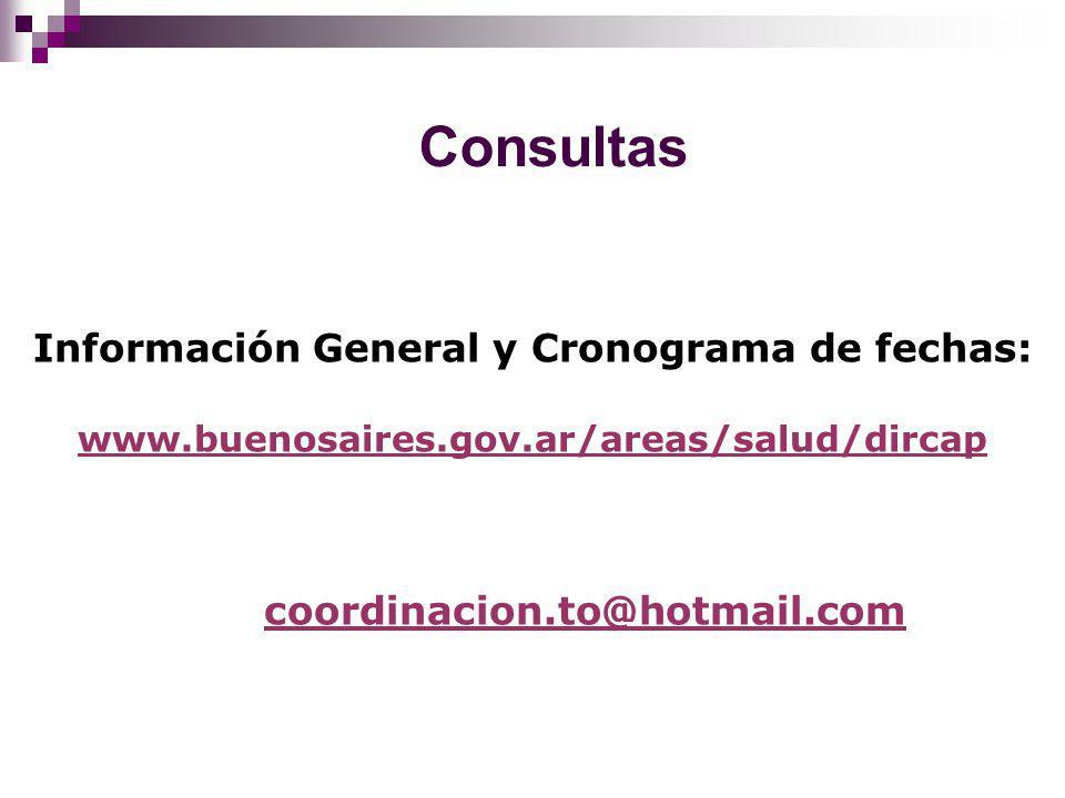 Consultas Información General y Cronograma de fechas: www.buenosaires.gov.ar/areas/salud/dircap coordinacion.to@hotmail.com