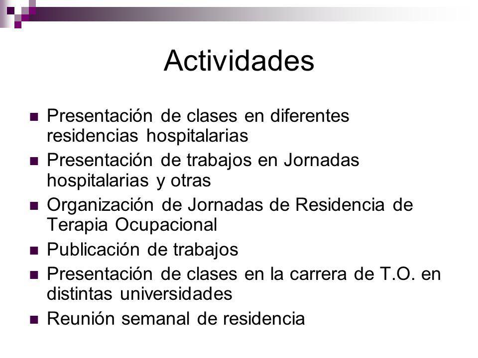 Actividades Presentación de clases en diferentes residencias hospitalarias Presentación de trabajos en Jornadas hospitalarias y otras Organización de