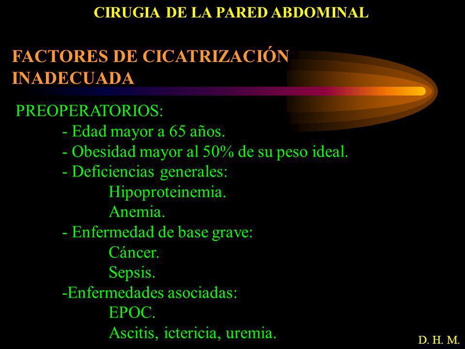 CIRUGIA DE LA PARED ABDOMINAL D. H. M. FACTORES DE CICATRIZACIÓN INADECUADA PREOPERATORIOS: - Edad mayor a 65 años. - Obesidad mayor al 50% de su peso